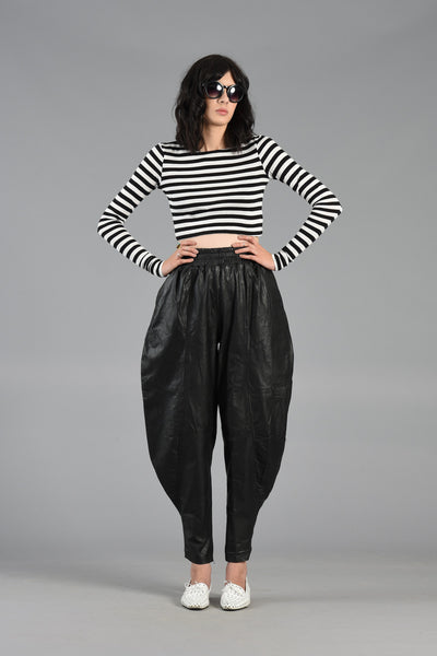 Wicked 1980s High Waisted Leather Harem Pants