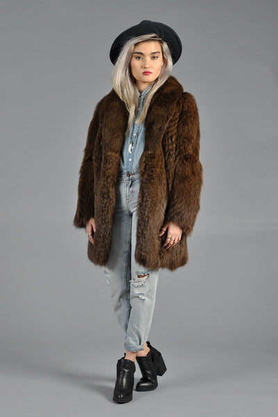Cocoa Feathered Fox Fur Coat