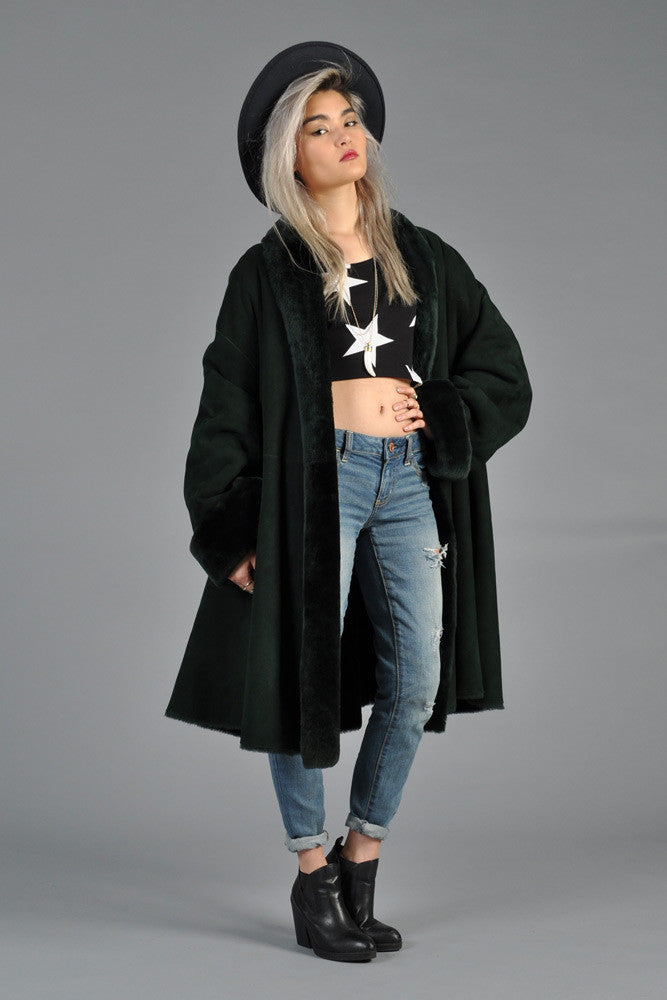 Christian Dior Reversible Green Shearling Swing Coat | BUSTOWN MODERN