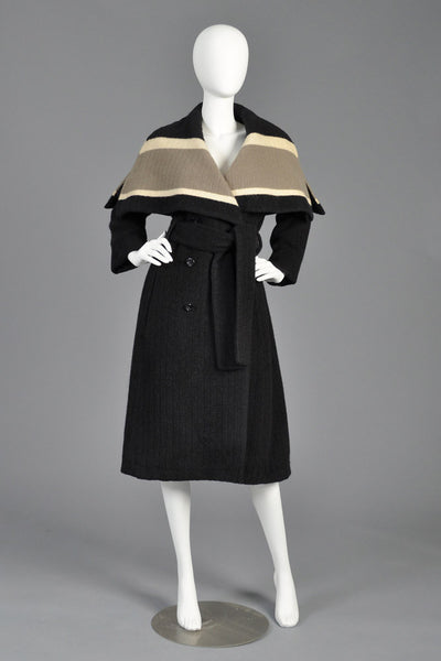 Christian Dior 1950s Wool Coat With Massive Caped Collar