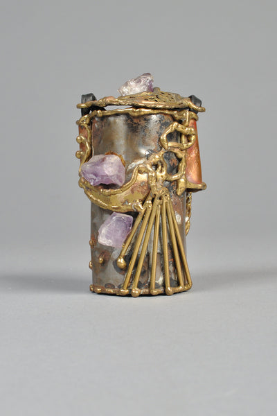 Brutalist Copa Collection Brass + Amethyst Cylindrical Purse