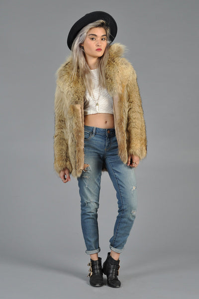 Donald Brooks 70s Shaggy Coyote Fur Coat