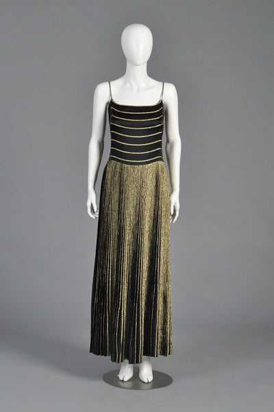 Gucci 70s Pleated Silk + Lamé Evening Gown w/Jacket