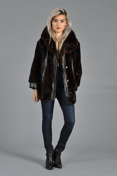 Mahogany Mink Fur + Leather Stripe Coat