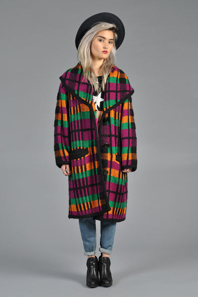 Rainbow Plaid Shawl Collar Sweater Coat
