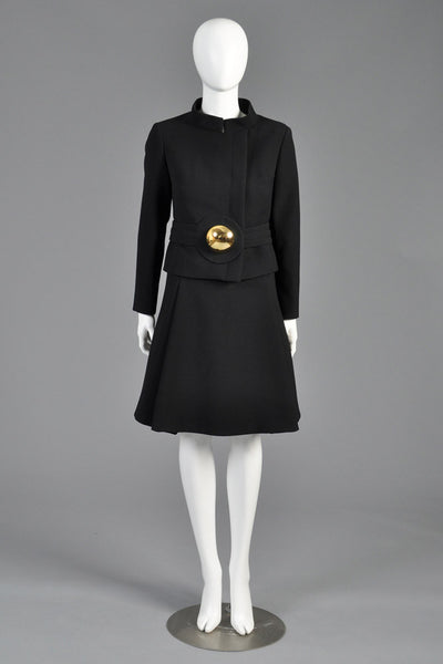 Pierre Cardin 1960s Wool Suit With Gold Brooch