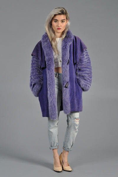 Purple Fox Fur + Suede Avant Garde Coat