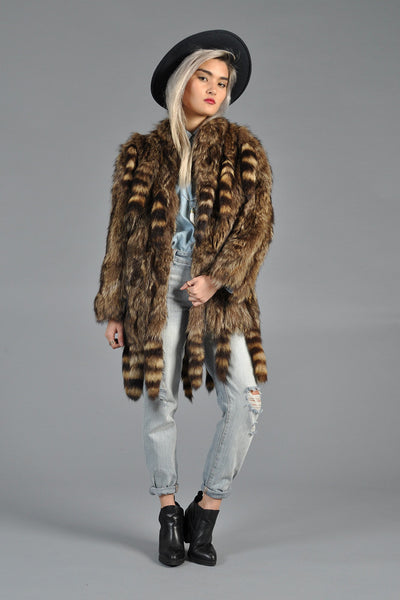 70s Raccoon Tail Shaggy Fur Coat