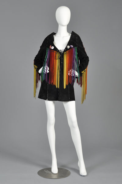 c. 1968 Suede Tunic w/ Rainbow Fringe + Political Provenance