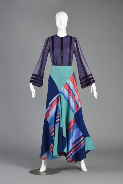 1970s Thea Porter Couture Patchwork Silk Skirt