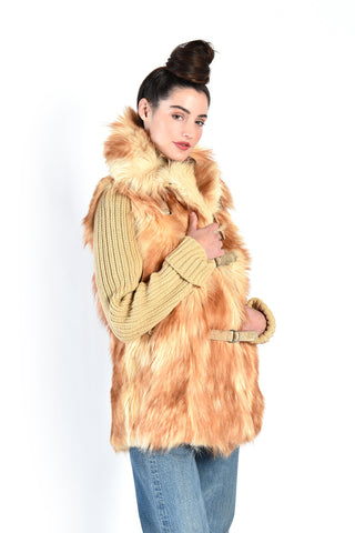 Shawna 1970s Butterscotch Knit Fur Coat