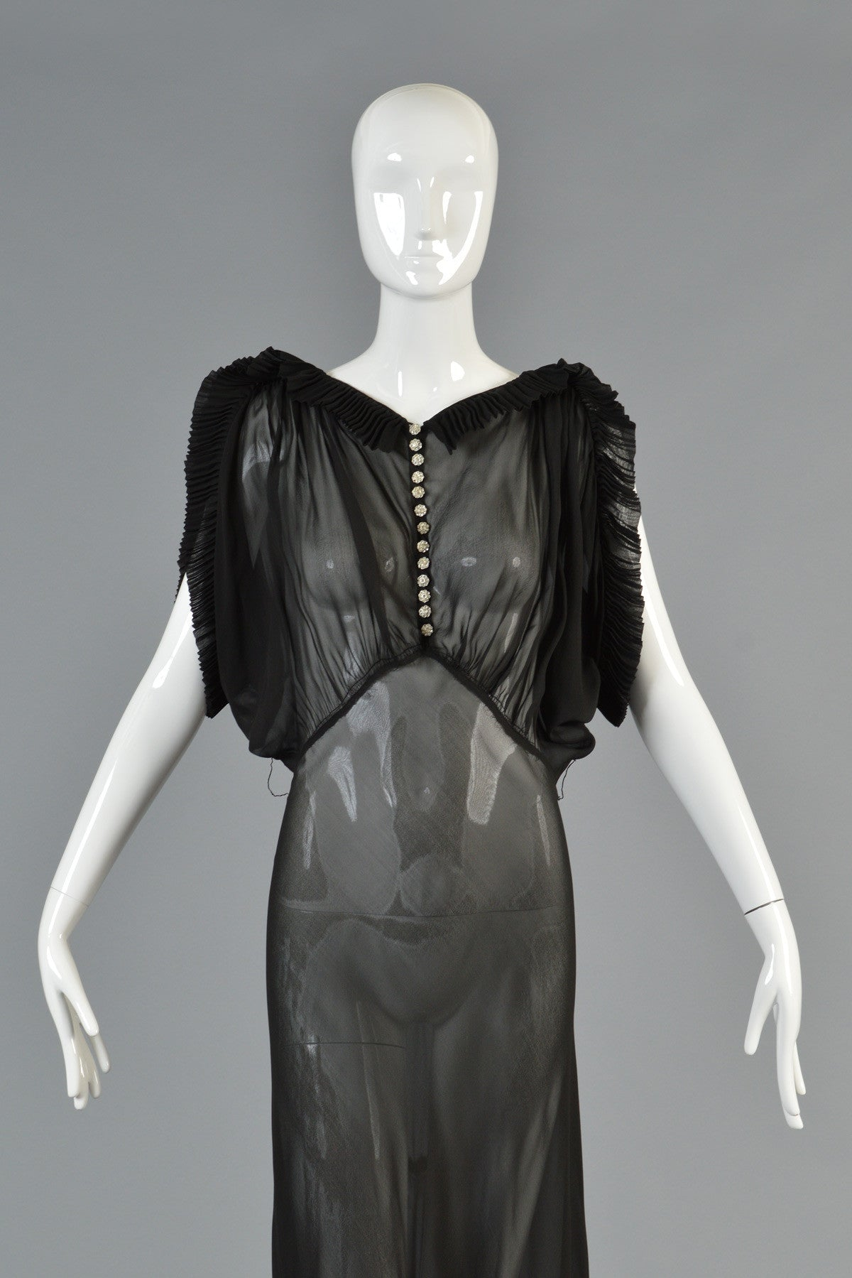 1930s Black Sheer Evening Gown w/Open Draped Sleeves | BUSTOWN MODERN