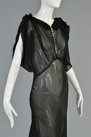 1930s Black Sheer Evening Gown w/Open Draped Sleeves