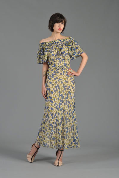 Off the Shoulder 1930s Berry Printed Gown