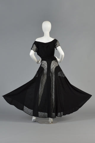 1940s Black Rayon Crepe + Lace Insert Panel Evening Gown