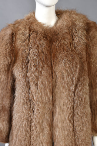 Cindy Mocha Colored Chubby Fox Fur Coat