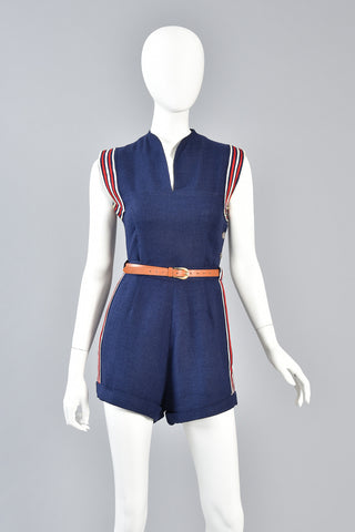 1940s Red White & Blue Button Up Sailor Playsuit