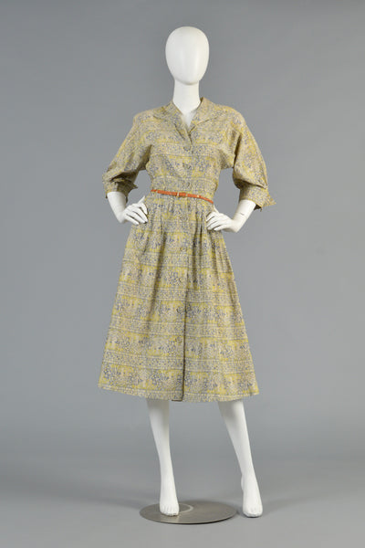 "1940s ""Garden of Eden"" Novelty Printed Shirt Dress"