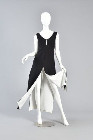 Monochrome 1960s Colorblock Carwash Dress