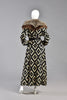 Ursula OOAK Monochrome Tapestry Coat w/ Silver Fox Fur Collar