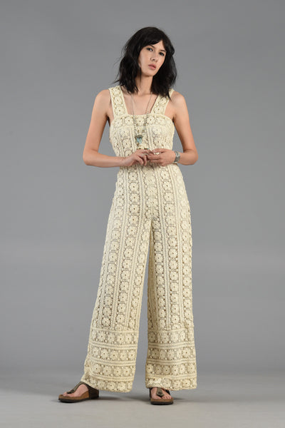 1960s Wide Leg Hand Crochet Jumpsuit