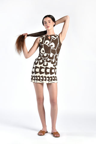Thelma 1960s Graphic Linen Mini Dress