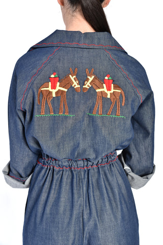 Verna Denim Coveralls w/ Embroidered Donkeys