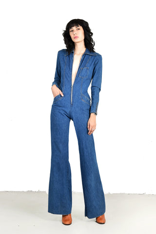 Tina Plunging Front 1970s Denim Bell Bottom Jumpsuit