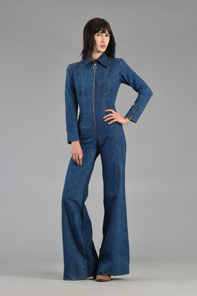The Hottest 1970s Bell Bottom Denim Jumpsuit