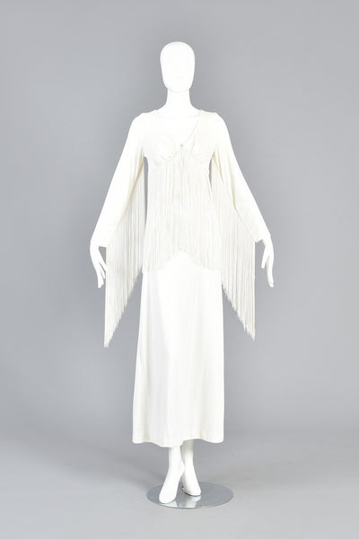 "1970s White Maxi Dress with 16"" Fringe"