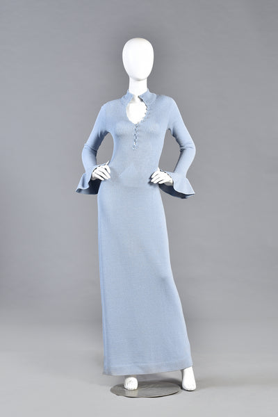 Lenora Ice Blue Knit Maxi Dress with Ruffled Sleeves