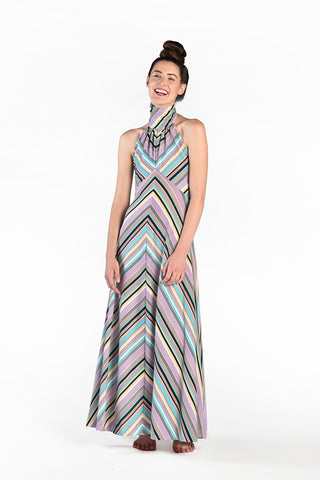 Larissa 1970s Open Back Chevron Stripe Maxi Dress