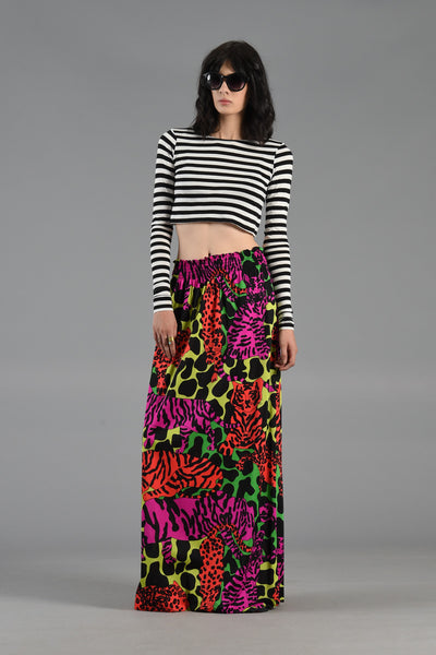 1970s High Waisted Day Glo Big Cat Maxi Skirt