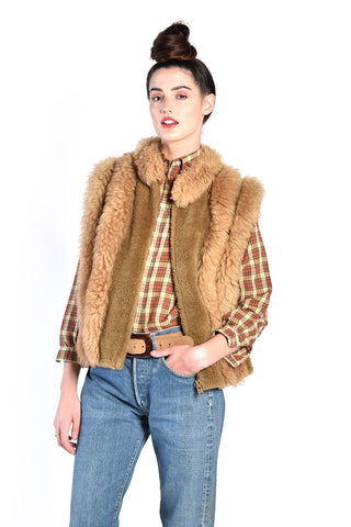 Maggie 1970s Shearling Striped Vest
