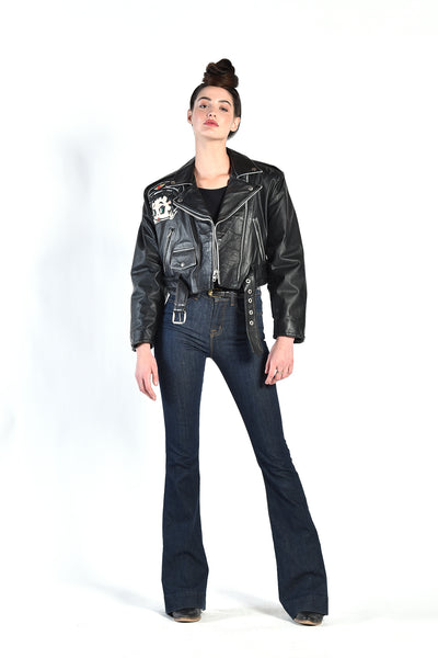Betty Boop Cropped Leather Biker Jacket