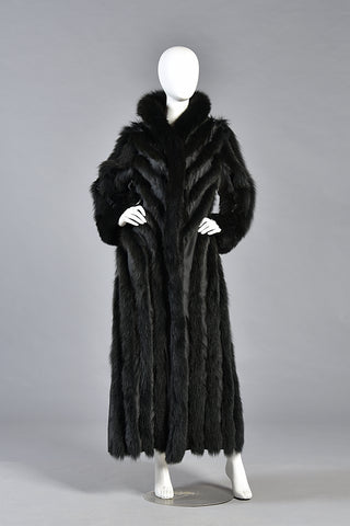 Carla Reversible Black Fox Fur Maxi Coat with Hood