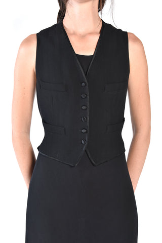 DKNY Black 1990s Slinky Vest Dress