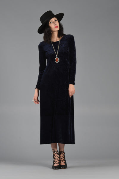 1990s Midnight Blue Crushed Velvet Slinky Maxi Dress