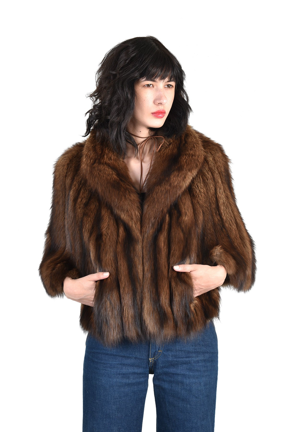 alana luxe fisher fur cape  bustown modern - alana luxe fisher fur cape