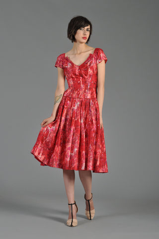 1950s Silk + Sequins Architectural Party Dress