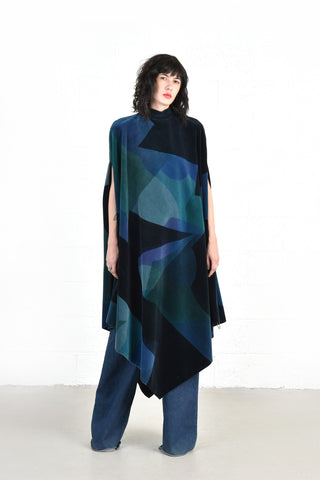 Denise Bourillon Graphic 1960s Velvet Cape