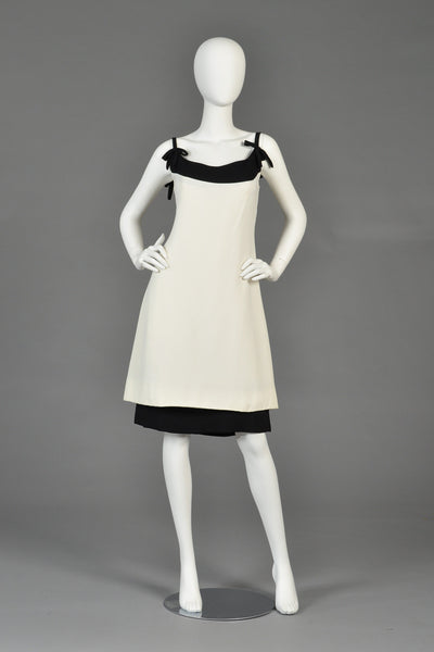 1960s Harou Ivory + Black Tiered Cocktail Dress