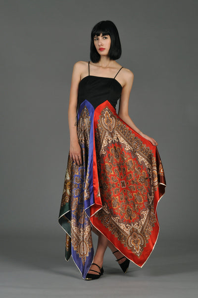 70s Asymmetrical Scarf Skirt Disco Dress