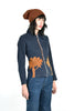 Cresa Denim Jacket w/Suede Sunset & Tree Motif
