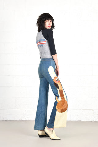 Snakebite 1970s Leather & Denim Bell Bottoms