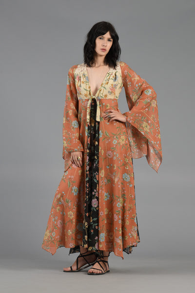 70s Nouveau Gauze Maxi Dress w/Lace Back + Angel Sleeves