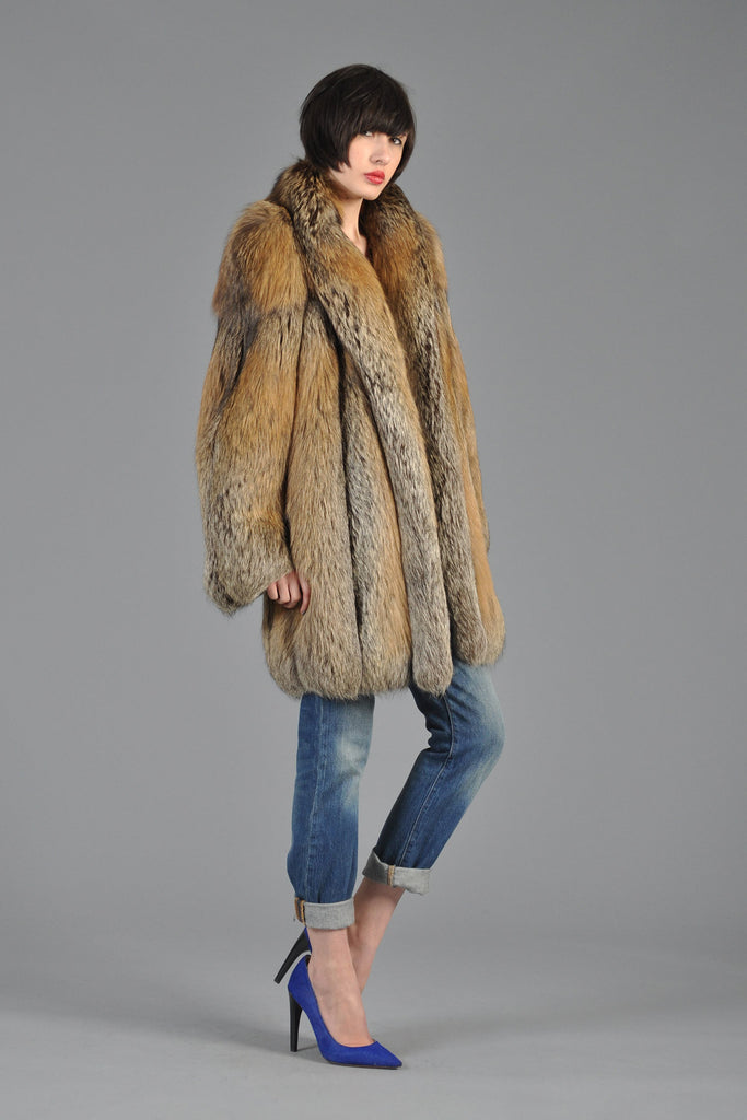 Red Cross Fox Fur Coat Bustown Modern