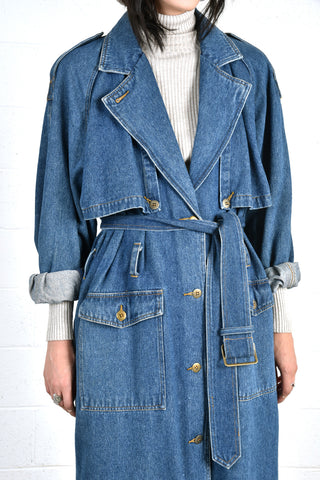 Devandra Full Length Denim Trench Coat
