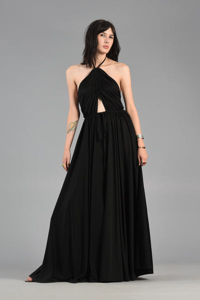 Adele Simpson 1970s Backless Grecian Cutout Evening Gown