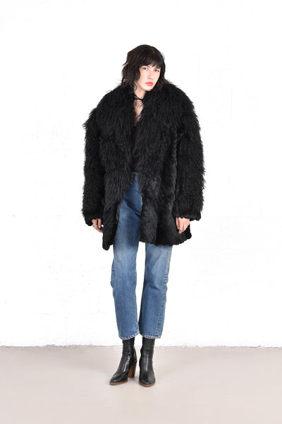 Adolfo Super Shaggy Black Mongolian Lamb & Rabbit Fur Coat